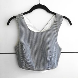 Stripe Fitted Crop Tank Top